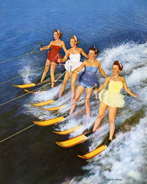 Smiling Digital Art - Four Women Waterskiing by Graphicaartis