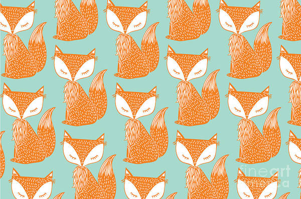 Wall Art - Digital Art - Fox Background Vectorillustration by Lyeyee