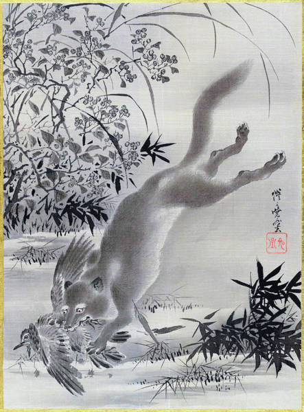Wall Art - Painting - Fox Catching Bird - Digital Remastered Edition by Kawanabe Kyosai