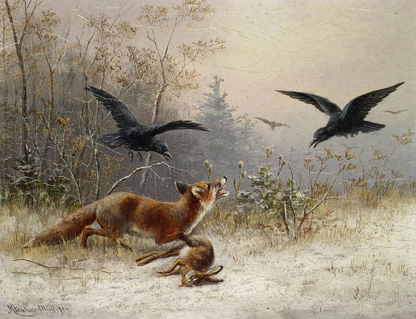 Wall Art - Painting - Fox Chasing Rabbits In Winter by Moritz Muller