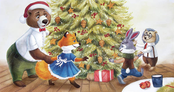 Trimming Painting - Fox - Christmas Tree - Christmas Eve - Tree - Forest  by Ema Malyauka