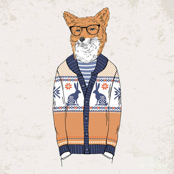 Wall Art - Digital Art - Fox Dressed Up In Jacquard Pullover by Olga angelloz