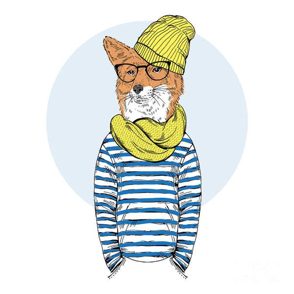 Wall Art - Digital Art - Fox Dressed Up In Nordic Style, Furry by Olga angelloz