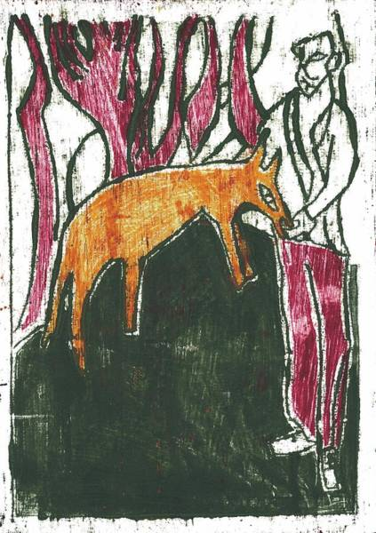 Painting - Fox Feeder by Artist Dot