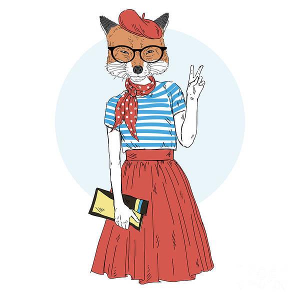 Wall Art - Digital Art - Fox Girl Dressed Up In French Style by Olga angelloz