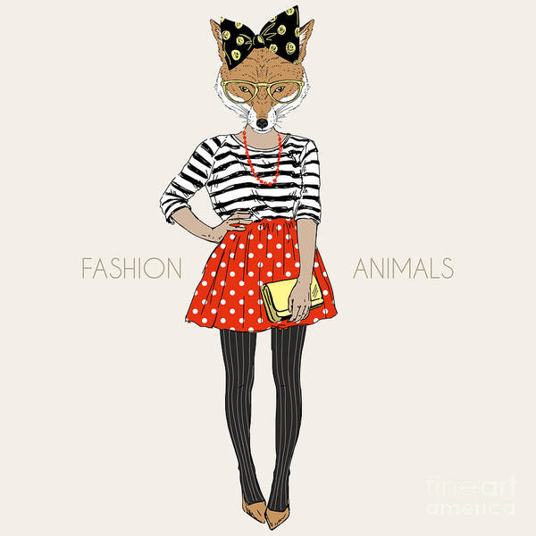 Wall Art - Digital Art - Fox Hipster Girl, Fashion Animal by Olga angelloz