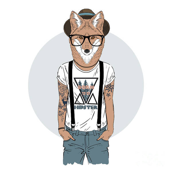 Wall Art - Photograph - Fox Hipster With Tattoo, Furry Art by Olga angelloz