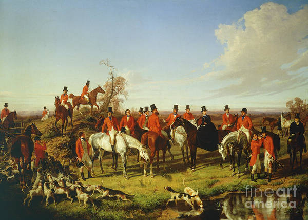 Wall Art - Painting - Fox Hunt, By Filippo Palizzi, 1850 by Filippo Palizzi