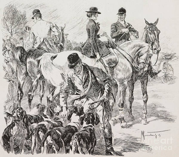 Wall Art - Drawing - Fox Hunt Scene by English School