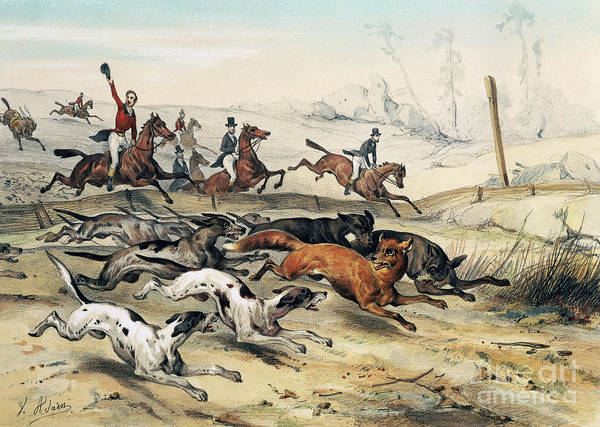 Wall Art - Drawing - Fox Hunting, Engraving By Jean Victor Adam  by Jean Victor Adam