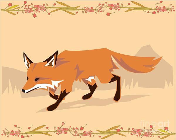 Wall Art - Digital Art - Fox In A Decorative Composition by Artistan