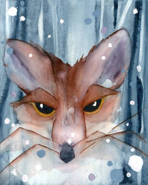 Painting - Fox In The Evening Snow by Dawn Derman