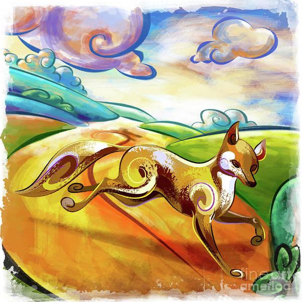 Wall Art - Digital Art - Fox On The Run by Peter Awax