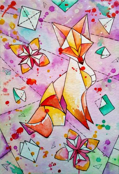 Origami Painting - Fox Origami by ArtMarketJapan