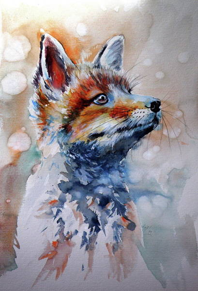 Wall Art - Painting - Fox Puppy by Kovacs Anna Brigitta