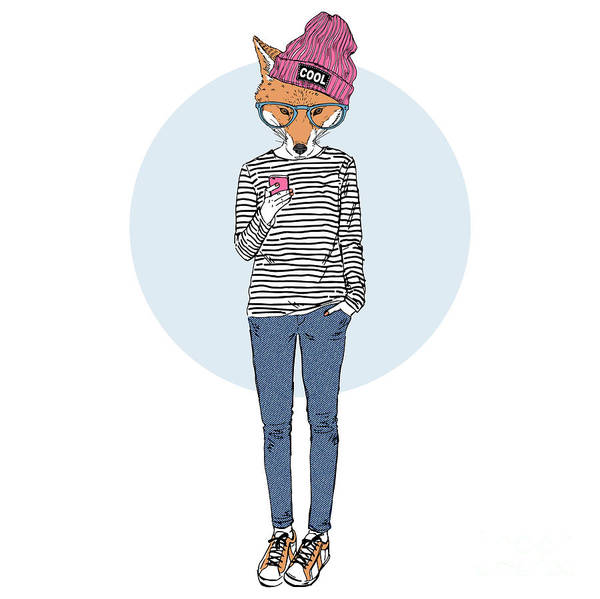 Wall Art - Digital Art - Fox Teen Girl Dressed Up In Urban Style by Olga angelloz