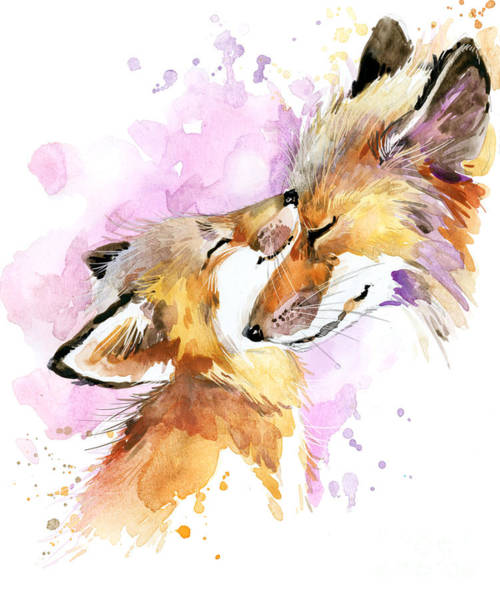 Reserve Wall Art - Digital Art - Fox Watercolor Illustration. Mothers by Faenkova Elena