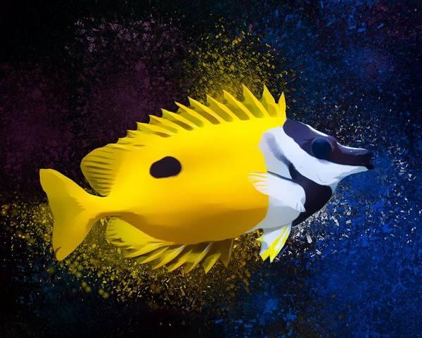 Digital Art - Foxfaced Rabbitfish Portrait  by Scott Wallace Digital Designs