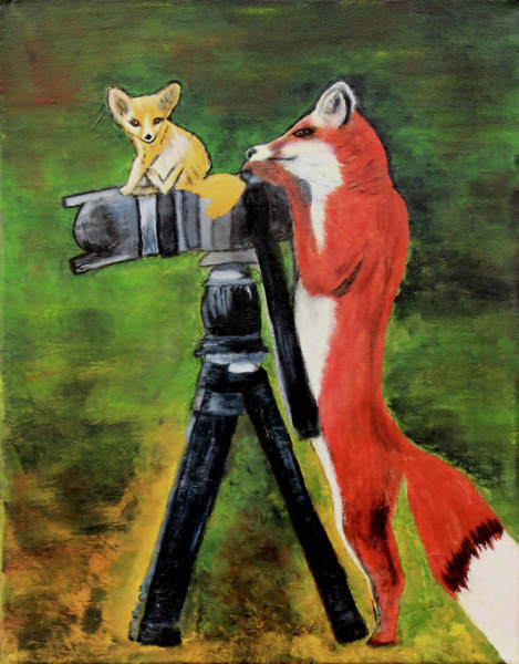 Painting - Foxy Photographer by Kimberley Dietrich