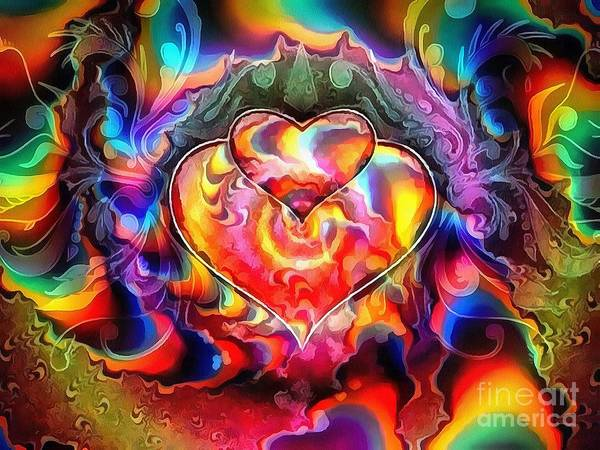 Painting - Fractal Painting Rainbow Colored by Catherine Lott
