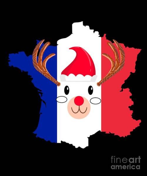 Ugly Digital Art - France Christmas Hat Antler Red Nose Reindeer by TeeQueen2603