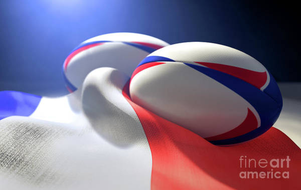 Wall Art - Digital Art - France Flag And Rugby Ball Pair by Allan Swart