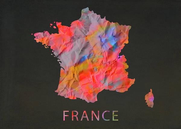 Wall Art - Mixed Media - France Tie Dye Country Map by Design Turnpike