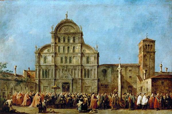 Wall Art - Painting - Francesco Guardi - The Doge Of Venice At Santa Maria Della Salute Commemorating The End Of The Plagu by Celestial Images