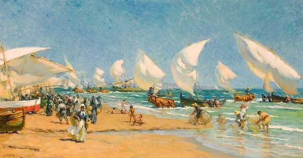 Wall Art - Painting - Francis Luis Mora Uruguayan American   1874-1940 On The Beach Valencia by Celestial Images