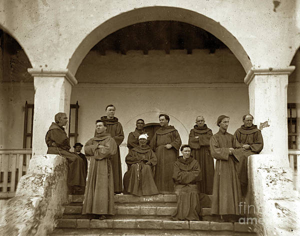 Photograph - Franciscan Fathers On The Steps Of The Santa Barbara Mission, Ma by California Views Archives Mr Pat Hathaway Archives