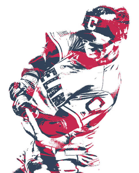 Wall Art - Mixed Media - Francisco Lindor Cleveland Indians Pixel Art 10 by Joe Hamilton