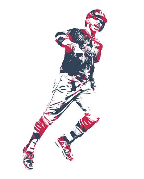 Wall Art - Mixed Media - Francisco Lindor Cleveland Indians Pixel Art 12 by Joe Hamilton