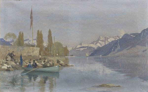 Wall Art - Painting - Francois Bocion 1828 - 1890 Animation At Vevey Quays by Celestial Images