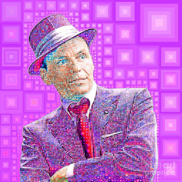 Photograph - Frank Sinatra Old Blue Eyes In Abstract Squares 20190218 P68 by Wingsdomain Art and Photography