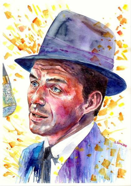Wall Art - Painting - Frank Sinatra Singing by Suzann Sines