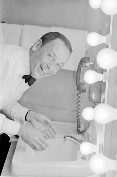 Photograph - Frank Sinatra Washing His Face In His by John Dominis