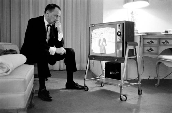 Photograph - Frank Sinatra Watches His Son, Sinatra by John Dominis