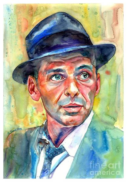 Wall Art - Painting - Frank Sinatra Wearing A Fedora by Suzann Sines