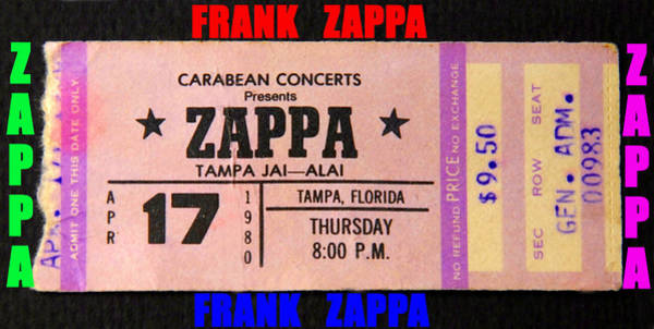 Wall Art - Photograph - Frank Zappa 1980 Concert Ticket by David Lee Thompson