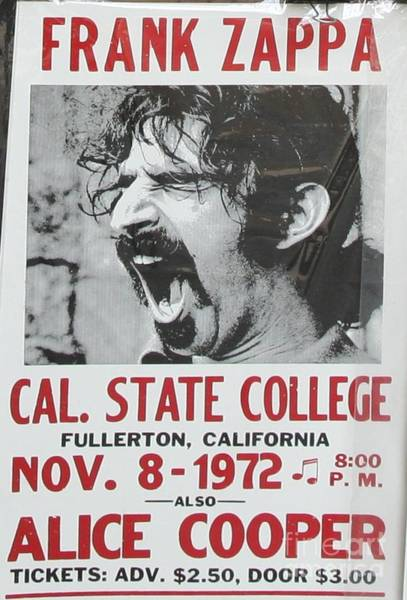 Frank Zappa Wall Art - Photograph - Frank Zappa Alice Cooper 1972 Poster by Chuck Kuhn