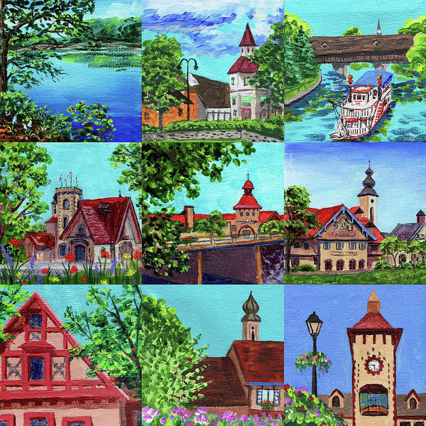 Clock Painting - Frankenmuth Downtown Michigan Painting Collage II by Irina Sztukowski