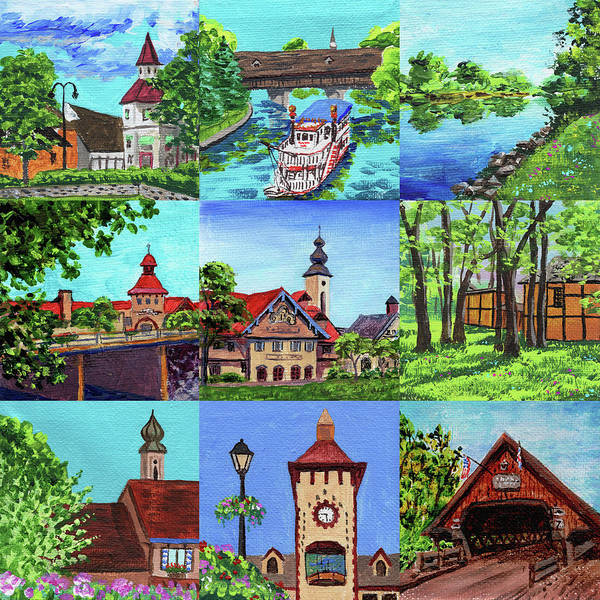 Clock Painting - Frankenmuth Downtown Michigan Painting Collage IIi by Irina Sztukowski
