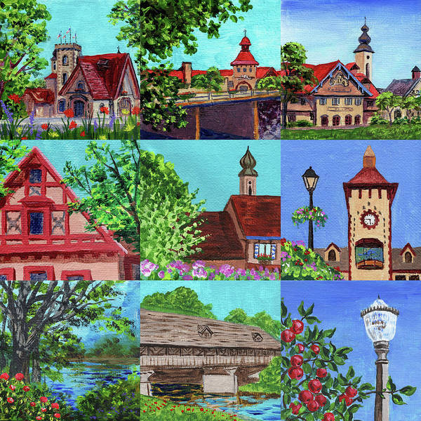 Clock Painting - Frankenmuth Downtown Michigan Painting Collage V by Irina Sztukowski
