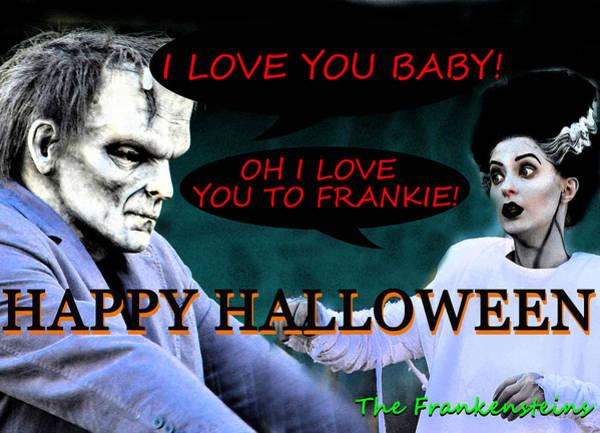 Wall Art - Photograph - Frankenstein Love Story Custom Card by David Lee Thompson