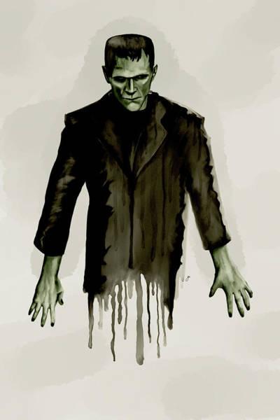 Digital Watercolor Digital Art - Frankenstein's Monster by Gary Cadima