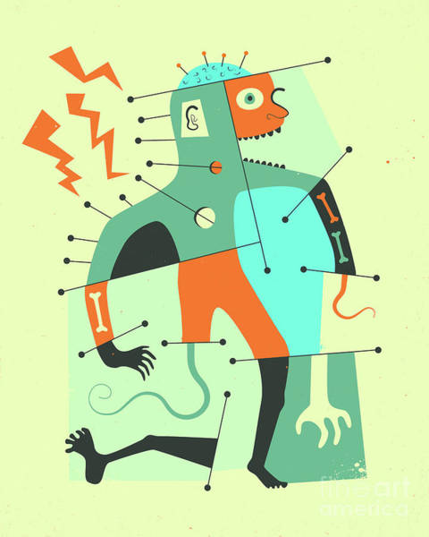 Abstraction Digital Art - Frankenstein's Monster by Jazzberry Blue