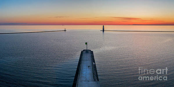 Wall Art - Photograph - Frankfort Breakwall Sunset by Twenty Two North Photography