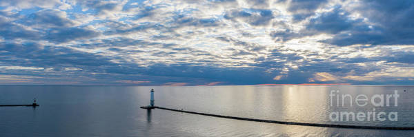 Wall Art - Photograph - Frankfort Lighthouse Aerial 3x1 Pano by Twenty Two North Photography