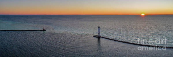 Wall Art - Photograph - Frankfort Lighthouse Aerial Sunset Panorama by Twenty Two North Photography