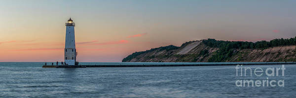 Wall Art - Photograph - Frankfort North Breakwater Lighthouse Dusk Panorama by Twenty Two North Photography